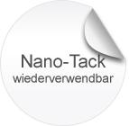 Nano-Tack, weiß, haftet zuverlässig, ganz ohne Klebstoff und lässt sich ruckzuck wieder ablösen. Ideal für wechselnde Werbeaktionen.