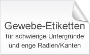 Gewebe-Etiketten für schwierige Untergründe und enge Radien/Kanten